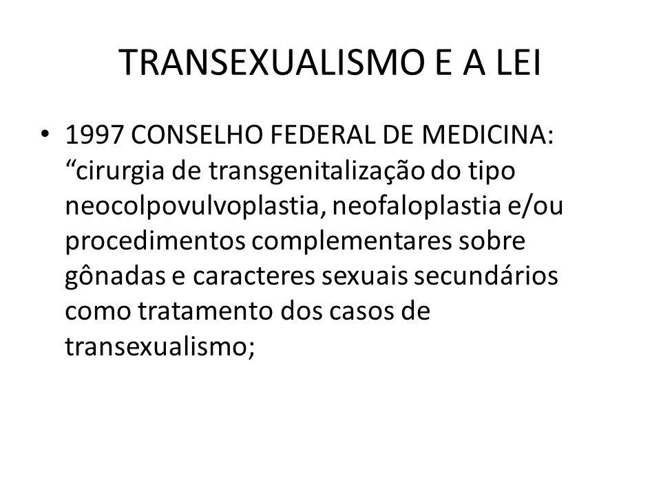 TRANSEXUALISMO E A LEI 1997 CONSELHO FEDERAL DE MEDICINA: cirurgia de transgenitalização do tipo neocolpovulvoplastia, neofaloplastia e/ou procediment