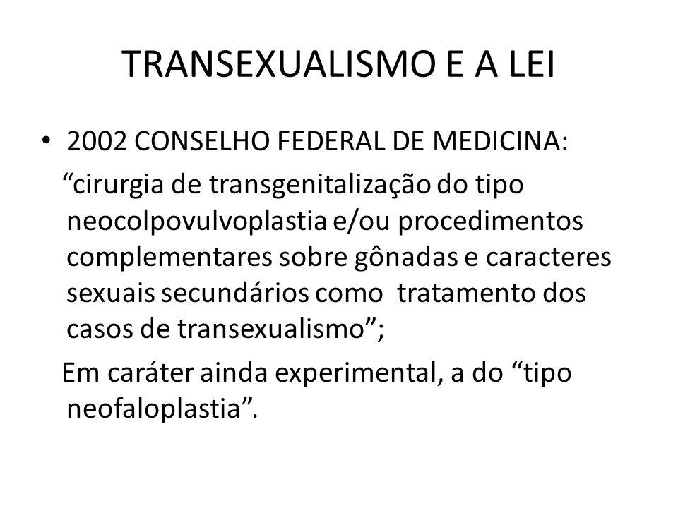TRANSEXUALISMO E A LEI 2002 CONSELHO FEDERAL DE MEDICINA: cirurgia de transgenitalização do tipo neocolpovulvoplastia e/ou procedimentos complementare