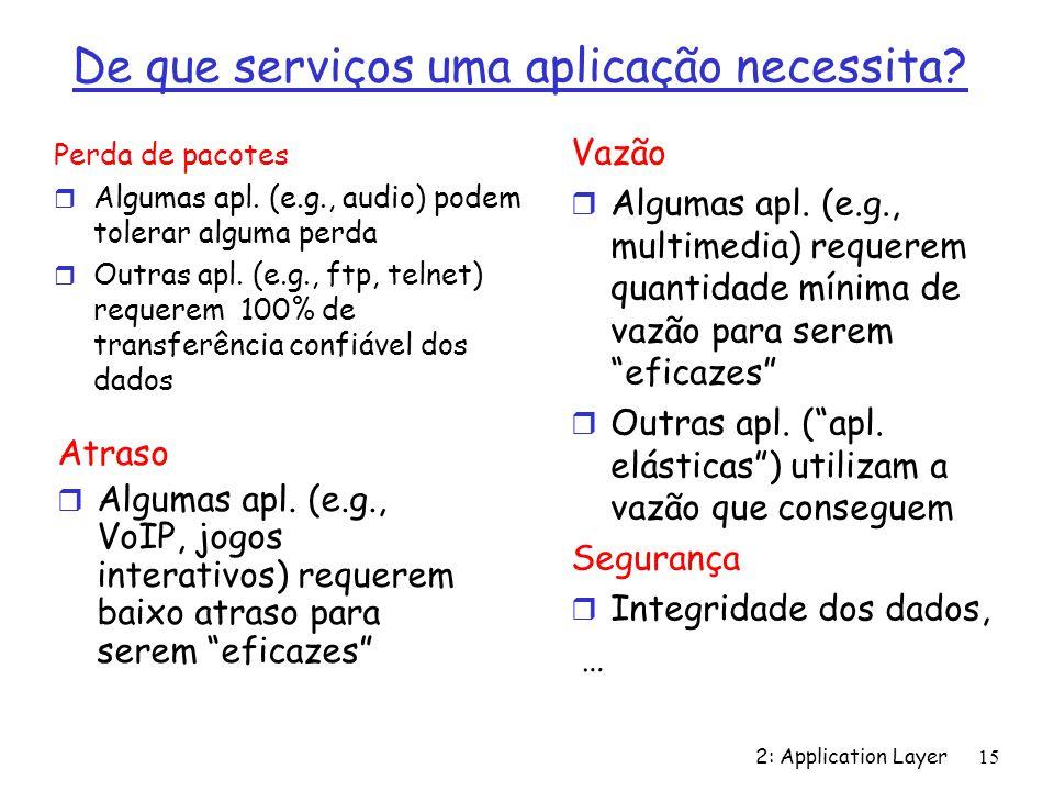 2: Application Layer 15 De que serviços uma aplicação necessita? Perda de pacotes r Algumas apl. (e.g., audio) podem tolerar alguma perda r Outras apl