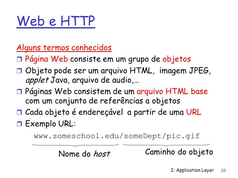 2: Application Layer 20 Web e HTTP Alguns termos conhecidos r Página Web consiste em um grupo de objetos r Objeto pode ser um arquivo HTML, imagem JPE