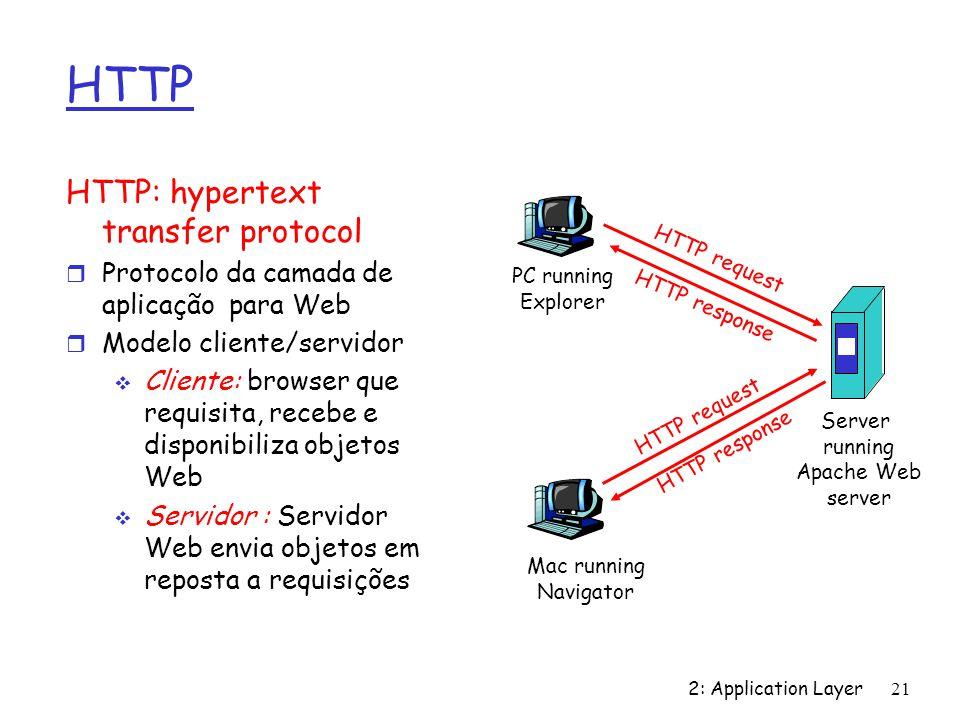 2: Application Layer 21 HTTP HTTP: hypertext transfer protocol r Protocolo da camada de aplicação para Web r Modelo cliente/servidor Cliente: browser