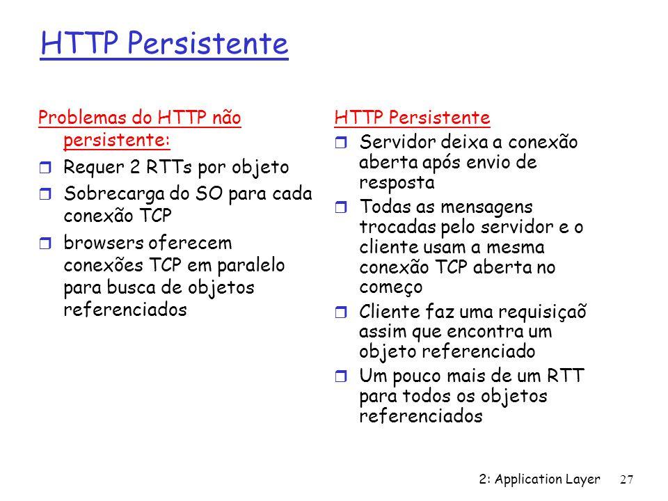 2: Application Layer 27 HTTP Persistente Problemas do HTTP não persistente: r Requer 2 RTTs por objeto r Sobrecarga do SO para cada conexão TCP r brow
