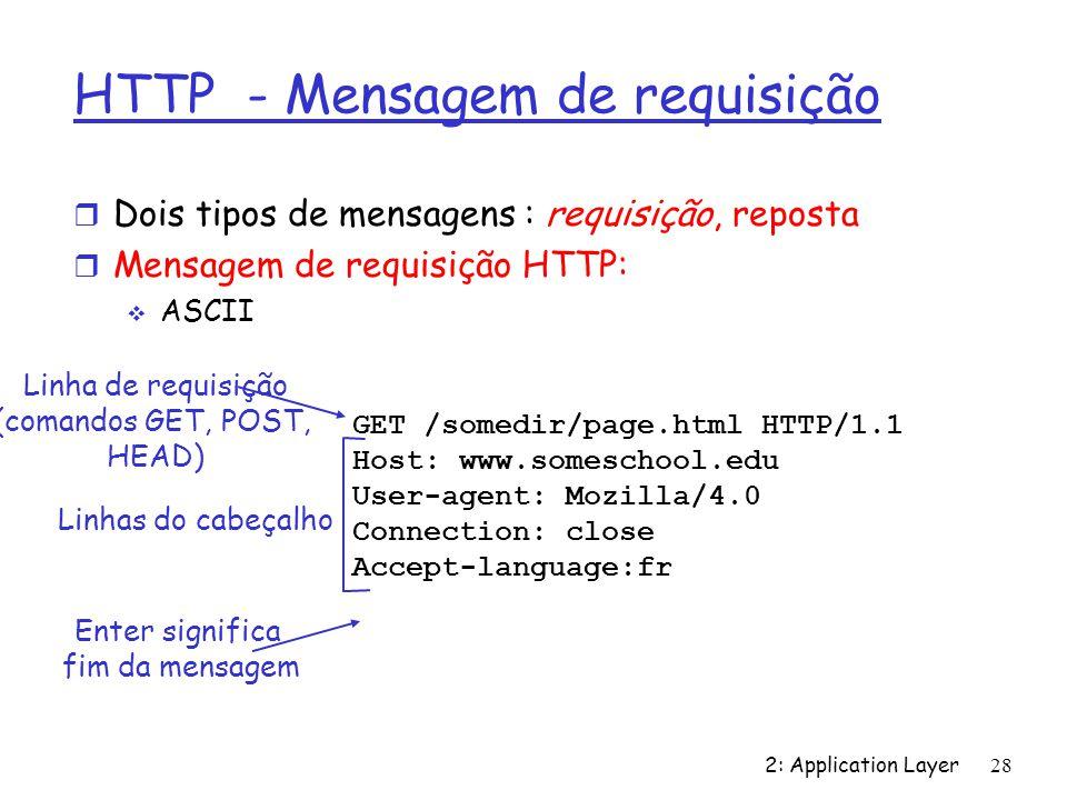 2: Application Layer 28 HTTP - Mensagem de requisição r Dois tipos de mensagens : requisição, reposta r Mensagem de requisição HTTP: ASCII GET /somedi