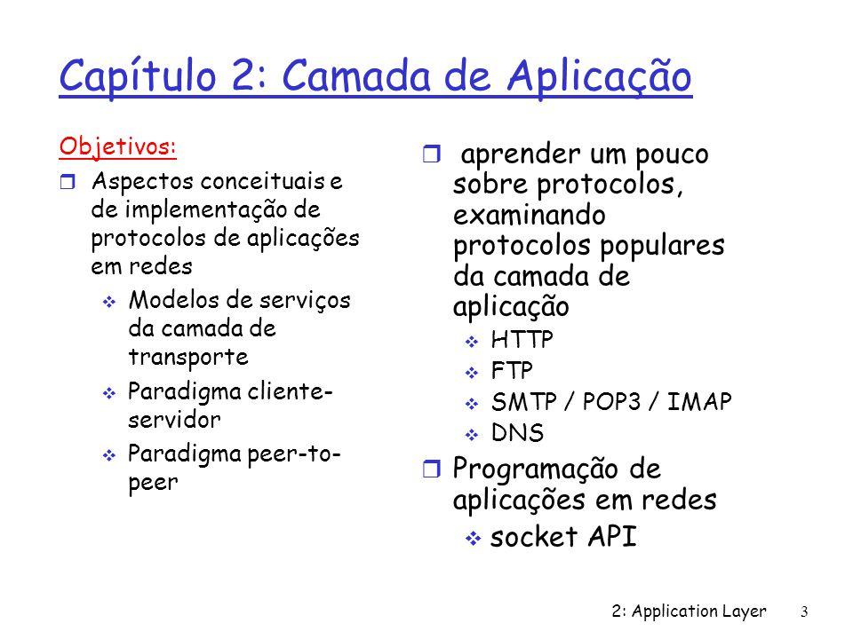 2: Application Layer 3 Capítulo 2: Camada de Aplicação Objetivos: r Aspectos conceituais e de implementação de protocolos de aplicações em redes Model