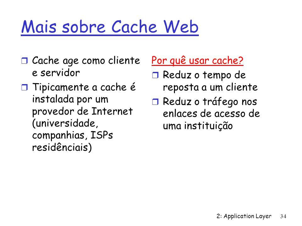 2: Application Layer 34 Mais sobre Cache Web r Cache age como cliente e servidor r Tipicamente a cache é instalada por um provedor de Internet (univer