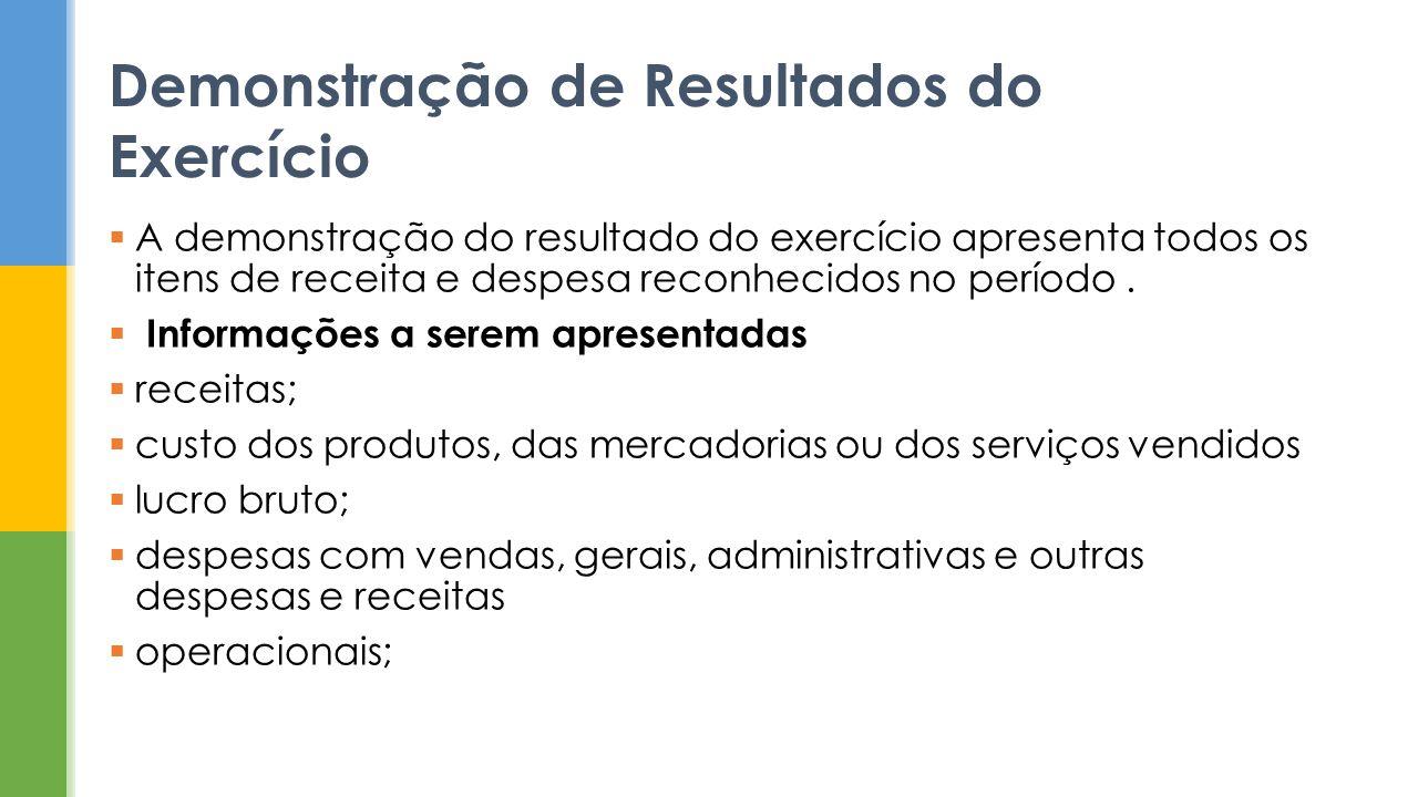 Demonstração de Resultados do Exercício A demonstração do resultado do exercício apresenta todos os itens de receita e despesa reconhecidos no período