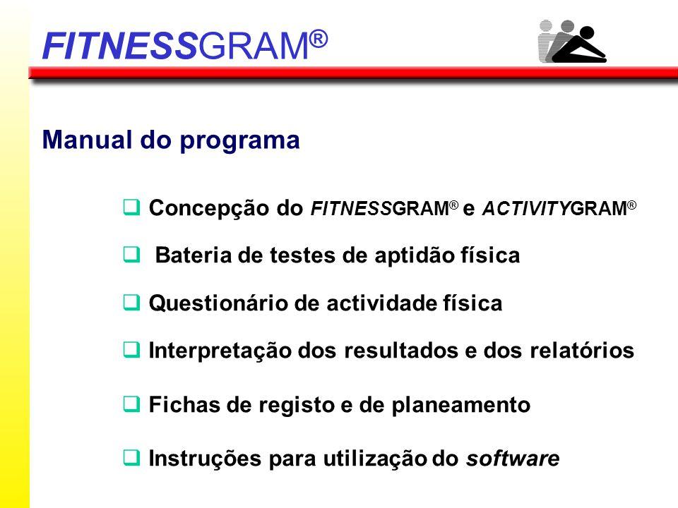 Avalia 3 áreas da aptidão física relacionadas com a saúde Avalia o nível de actividade física Operacionalizar a intervenção ao nível da aptidão / actividade física Processo evolutivo de aptidão / actividade física FITNESSGRAM ®