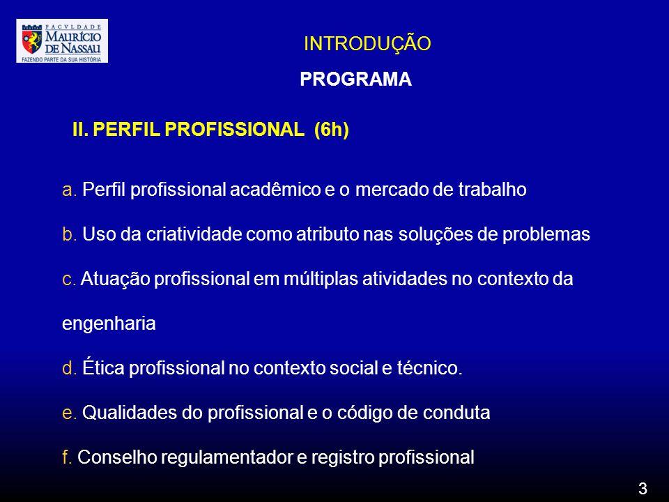 INTRODUÇÃO PROGRAMA II. PERFIL PROFISSIONAL (6h) a. Perfil profissional acadêmico e o mercado de trabalho b. Uso da criatividade como atributo nas sol