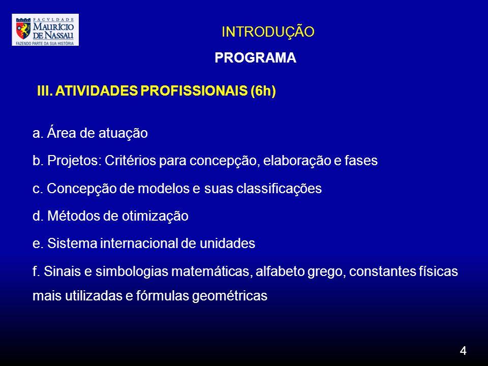 INTRODUÇÃO III. ATIVIDADES PROFISSIONAIS (6h) a. Área de atuação b. Projetos: Critérios para concepção, elaboração e fases c. Concepção de modelos e s