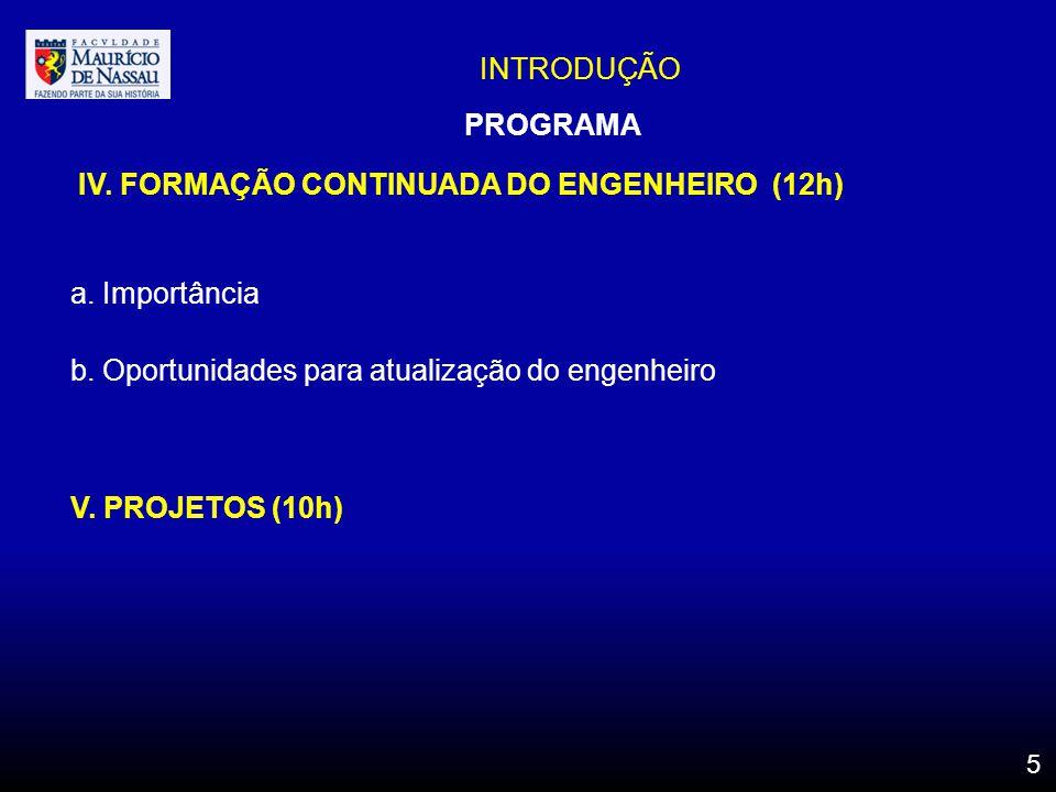 INTRODUÇÃO IV. FORMAÇÃO CONTINUADA DO ENGENHEIRO (12h) a. Importância b. Oportunidades para atualização do engenheiro V. PROJETOS (10h) PROGRAMA 5