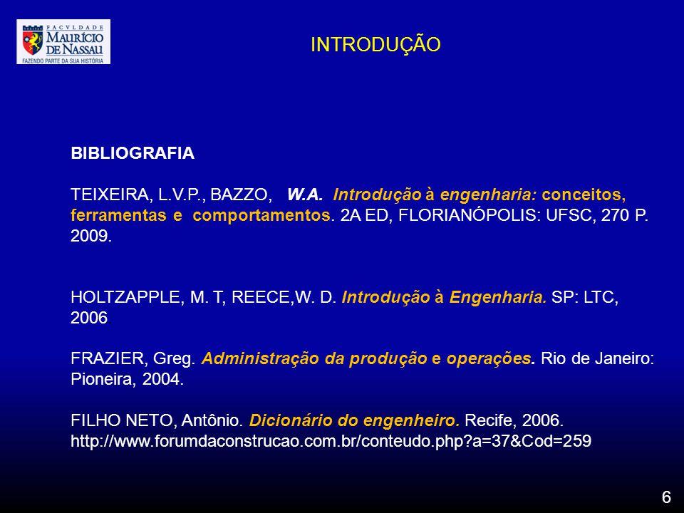 INTRODUÇÃO BIBLIOGRAFIA TEIXEIRA, L.V.P., BAZZO, W.A. Introdução à engenharia: conceitos, ferramentas e comportamentos. 2A ED, FLORIANÓPOLIS: UFSC, 27