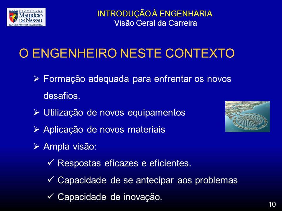 INTRODUÇÃO À ENGENHARIA Visão Geral da Carreira O ENGENHEIRO NESTE CONTEXTO Formação adequada para enfrentar os novos desafios. Utilização de novos eq