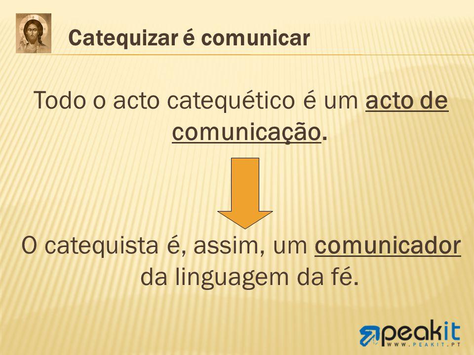 Todo o acto catequético é um acto de comunicação. O catequista é, assim, um comunicador da linguagem da fé. Catequizar é comunicar