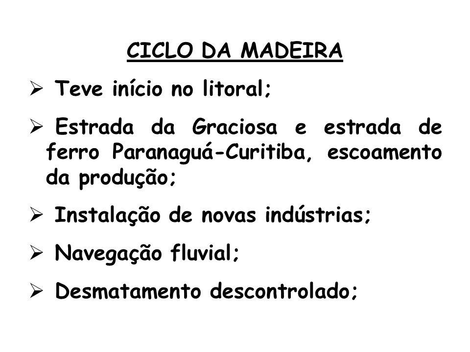 CICLO DA MADEIRA Teve início no litoral; Estrada da Graciosa e estrada de ferro Paranaguá-Curitiba, escoamento da produção; Instalação de novas indústrias; Navegação fluvial; Desmatamento descontrolado;