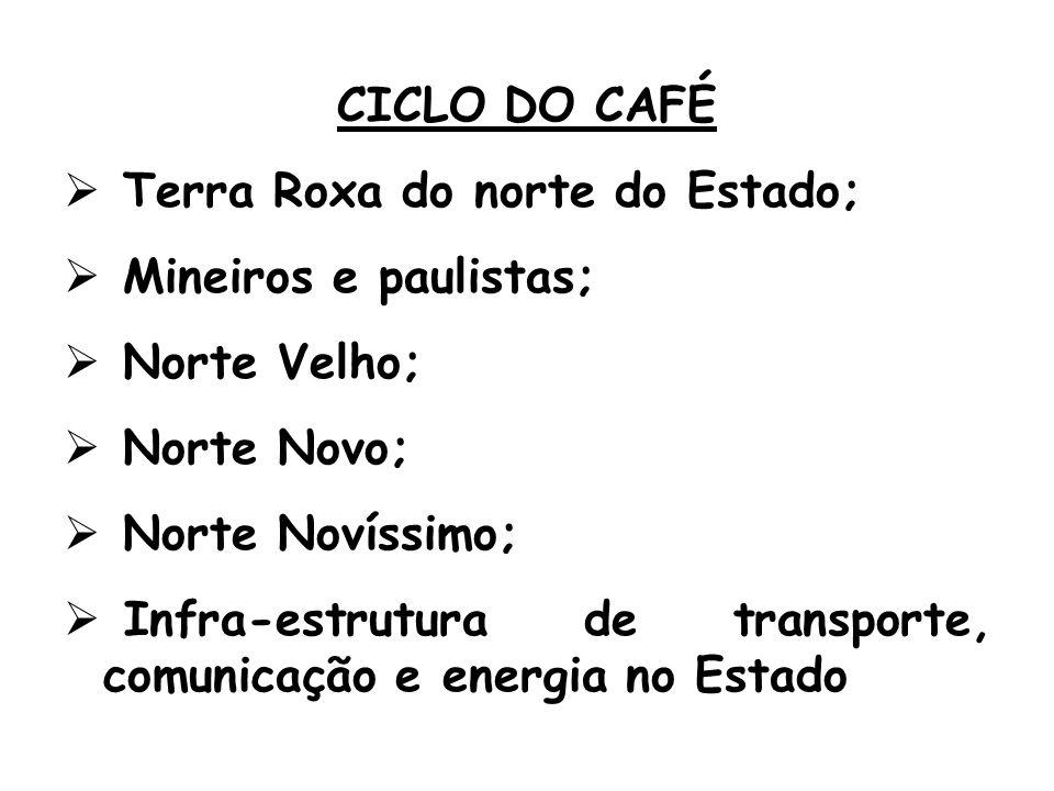 CICLO DO CAFÉ Terra Roxa do norte do Estado; Mineiros e paulistas; Norte Velho; Norte Novo; Norte Novíssimo; Infra-estrutura de transporte, comunicação e energia no Estado