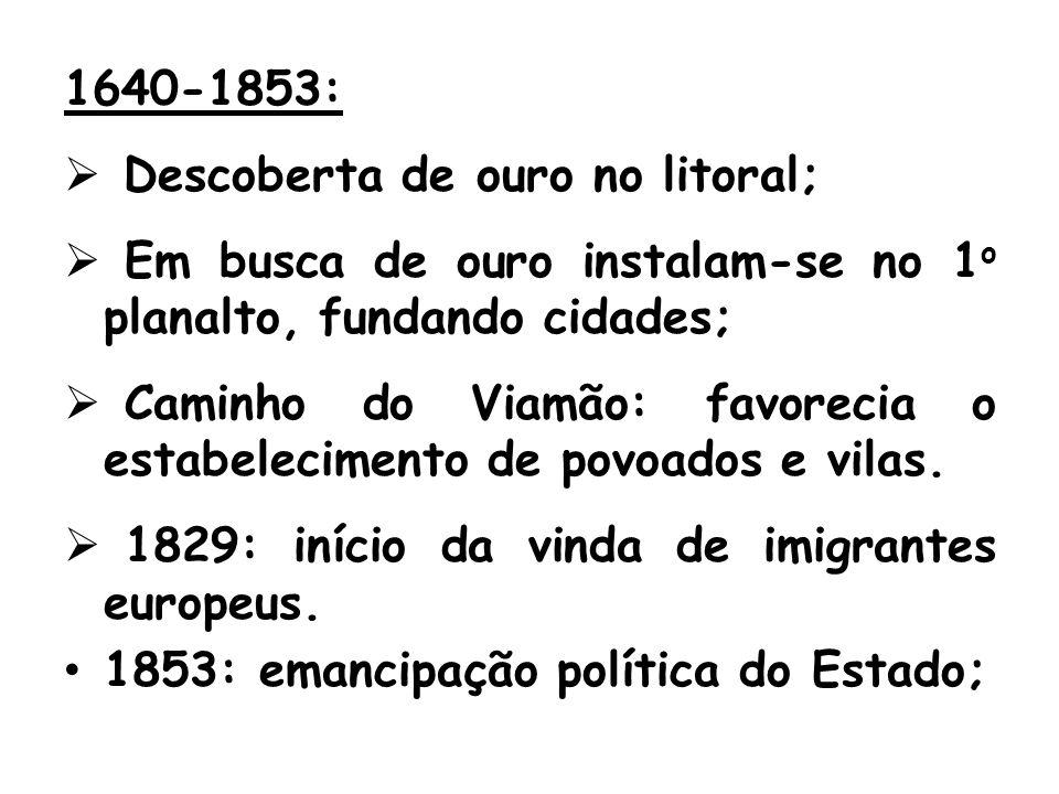 1640-1853: Descoberta de ouro no litoral; Em busca de ouro instalam-se no 1 o planalto, fundando cidades; Caminho do Viamão: favorecia o estabelecimento de povoados e vilas.