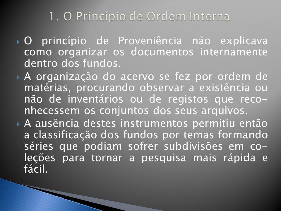 O princípio de Proveniência não explicava como organizar os documentos internamente dentro dos fundos.