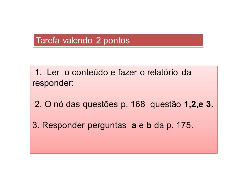 Tarefa valendo 2 pontos 1. Ler o conteúdo e fazer o relatório da responder: 2. O nó das questões p. 168 questão 1,2,e 3. 3. Responder perguntas a e b
