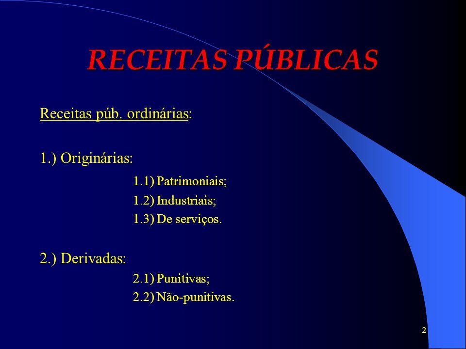 2 RECEITAS PÚBLICAS Receitas púb. ordinárias: 1.) Originárias: 1.1) Patrimoniais; 1.2) Industriais; 1.3) De serviços. 2.) Derivadas: 2.1) Punitivas; 2