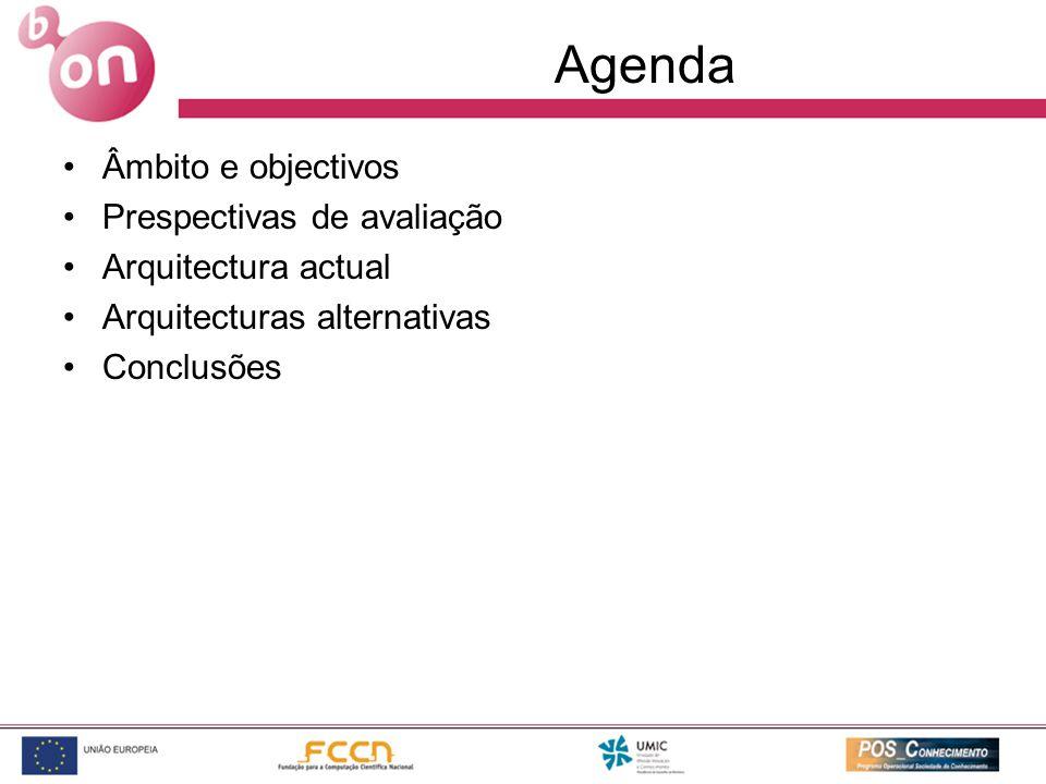 Agenda Âmbito e objectivos Prespectivas de avaliação Arquitectura actual Arquitecturas alternativas Conclusões