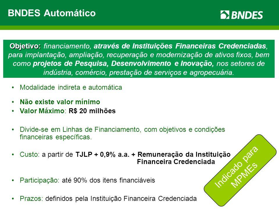 Objetivo: Objetivo: financiamento, através de Instituições Financeiras Credenciadas, para implantação, ampliação, recuperação e modernização de ativos