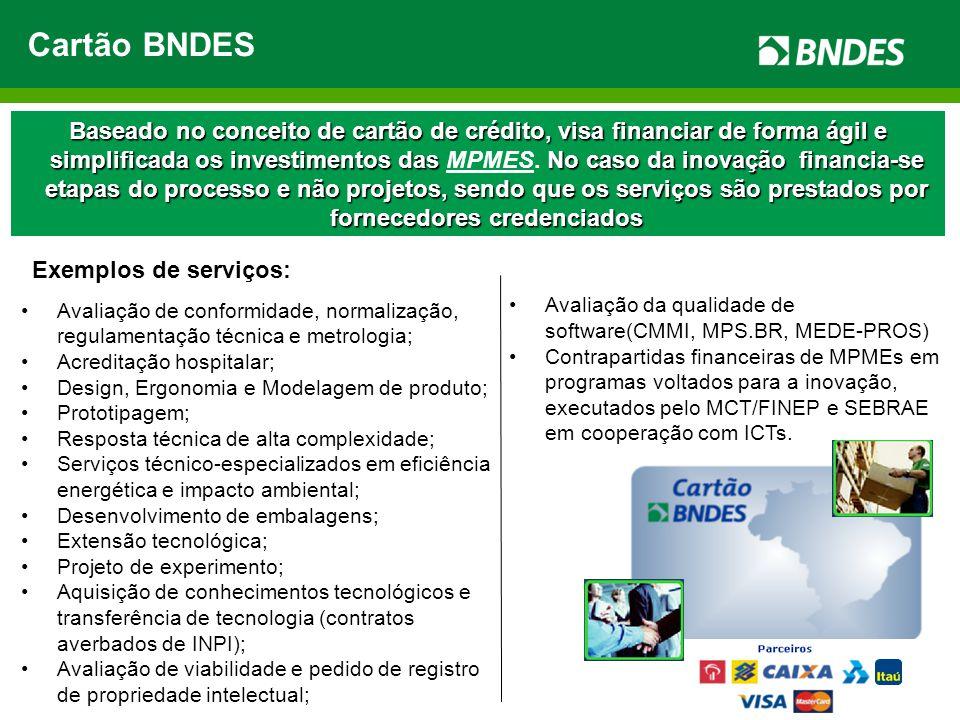 Cartão BNDES Baseado no conceito de cartão de crédito, visa financiar de forma ágil e simplificada os investimentos das No caso da inovação financia-s
