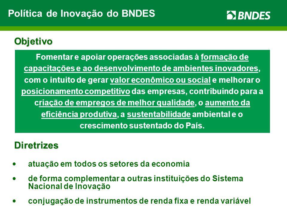 atuação em todos os setores da economia de forma complementar a outras instituições do Sistema Nacional de Inovação conjugação de instrumentos de rend