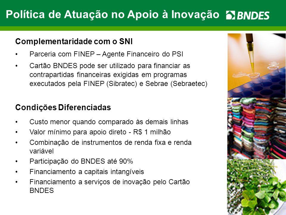 Complementaridade com o SNI Parceria com FINEP – Agente Financeiro do PSI Cartão BNDES pode ser utilizado para financiar as contrapartidas financeiras
