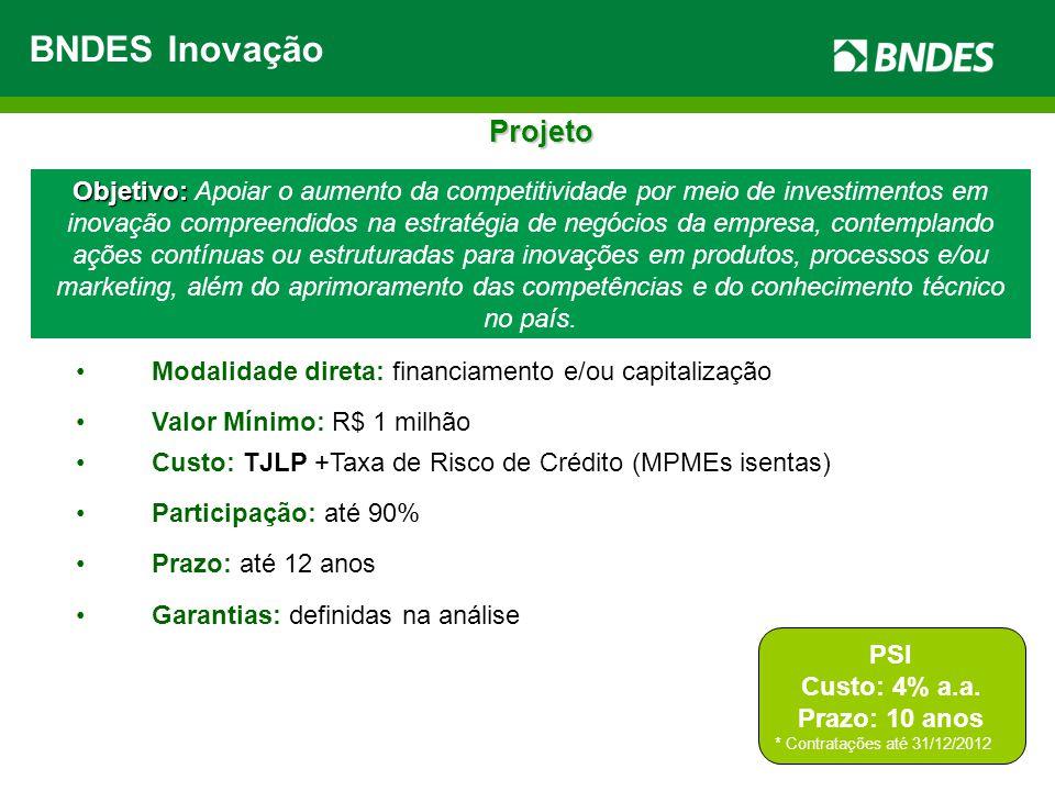 Objetivo: Objetivo: Apoiar o aumento da competitividade por meio de investimentos em inovação compreendidos na estratégia de negócios da empresa, cont