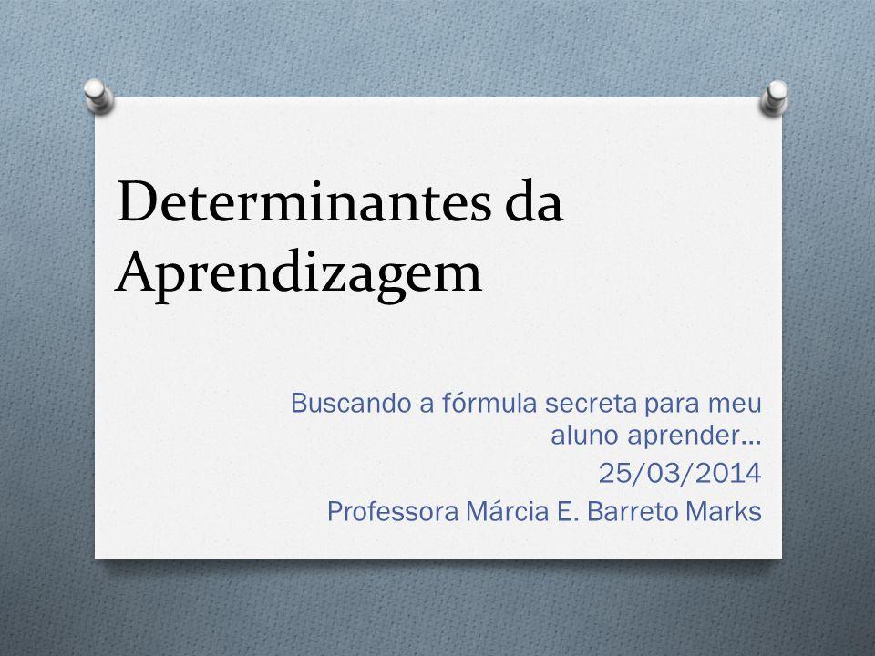 Determinantes da Aprendizagem Buscando a fórmula secreta para meu aluno aprender… 25/03/2014 Professora Márcia E. Barreto Marks
