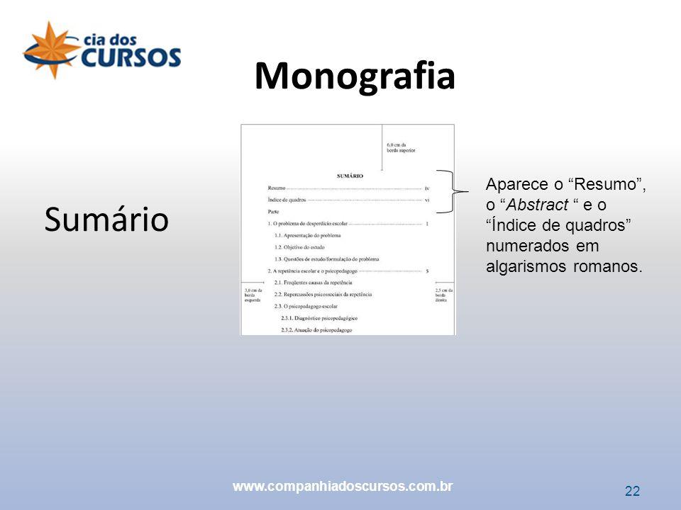 22 Sumário Aparece o Resumo, o Abstract e o Índice de quadros numerados em algarismos romanos. Monografia www.companhiadoscursos.com.br