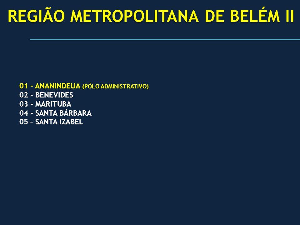 REGIÃO METROPOLITANA DE BELÉM II 01 - ANANINDEUA (PÓLO ADMINISTRATIVO) 02 - BENEVIDES 03 - MARITUBA 04 - SANTA BÁRBARA 05 – SANTA IZABEL