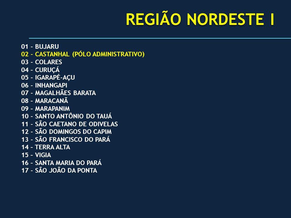 REGIÃO NORDESTE I 01 - BUJARU 02 - CASTANHAL (PÓLO ADMINISTRATIVO) 03 - COLARES 04 – CURUÇÁ 05 - IGARAPÉ-AÇU 06 - INHANGAPI 07 - MAGALHÃES BARATA 08 –