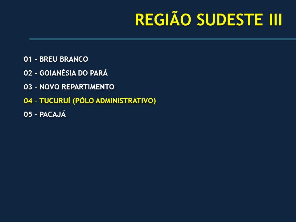 REGIÃO SUDESTE III 01 - BREU BRANCO 02 - GOIANÉSIA DO PARÁ 03 - NOVO REPARTIMENTO 04 – TUCURUÍ (PÓLO ADMINISTRATIVO) 05 – PACAJÁ 01 - BREU BRANCO 02 -