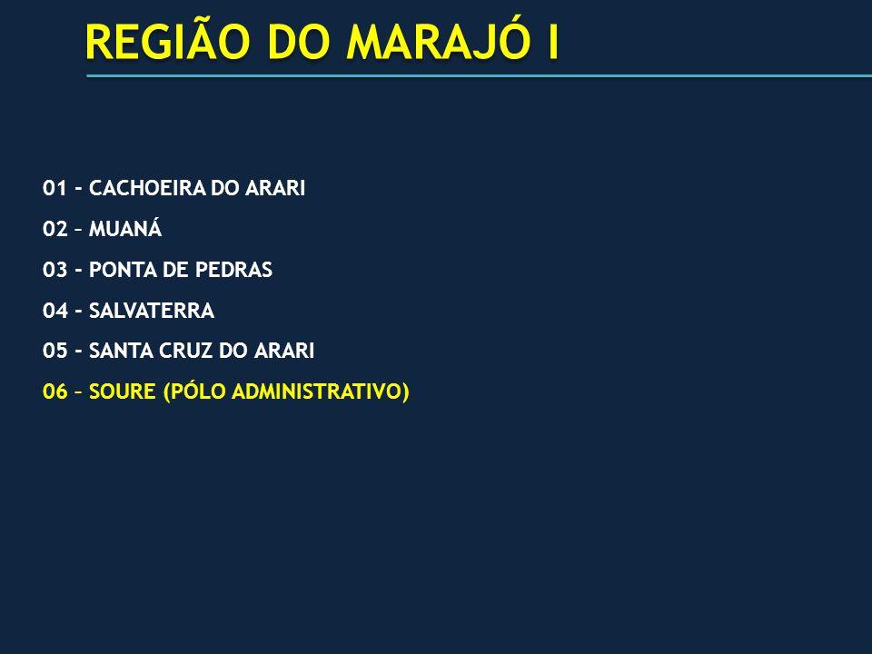 01 - CACHOEIRA DO ARARI 02 – MUANÁ 03 - PONTA DE PEDRAS 04 - SALVATERRA 05 - SANTA CRUZ DO ARARI 06 – SOURE (PÓLO ADMINISTRATIVO) REGIÃO DO MARAJÓ I