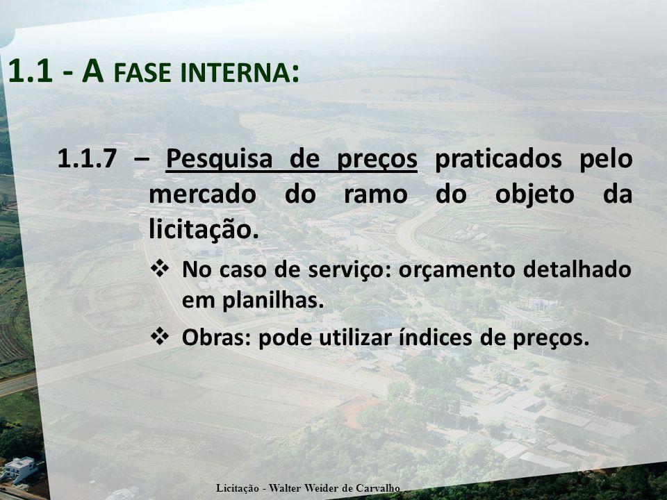 1.1.7 – Pesquisa de preços praticados pelo mercado do ramo do objeto da licitação.