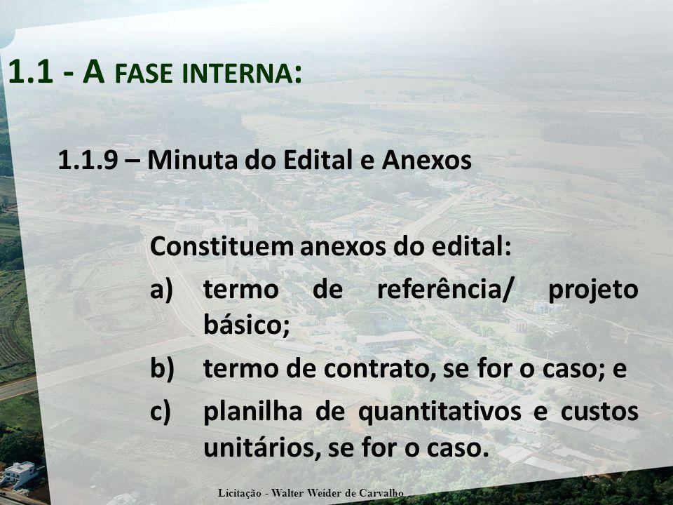 1.1.9 – Minuta do Edital e Anexos Constituem anexos do edital: a)termo de referência/ projeto básico; b)termo de contrato, se for o caso; e c)planilha de quantitativos e custos unitários, se for o caso.