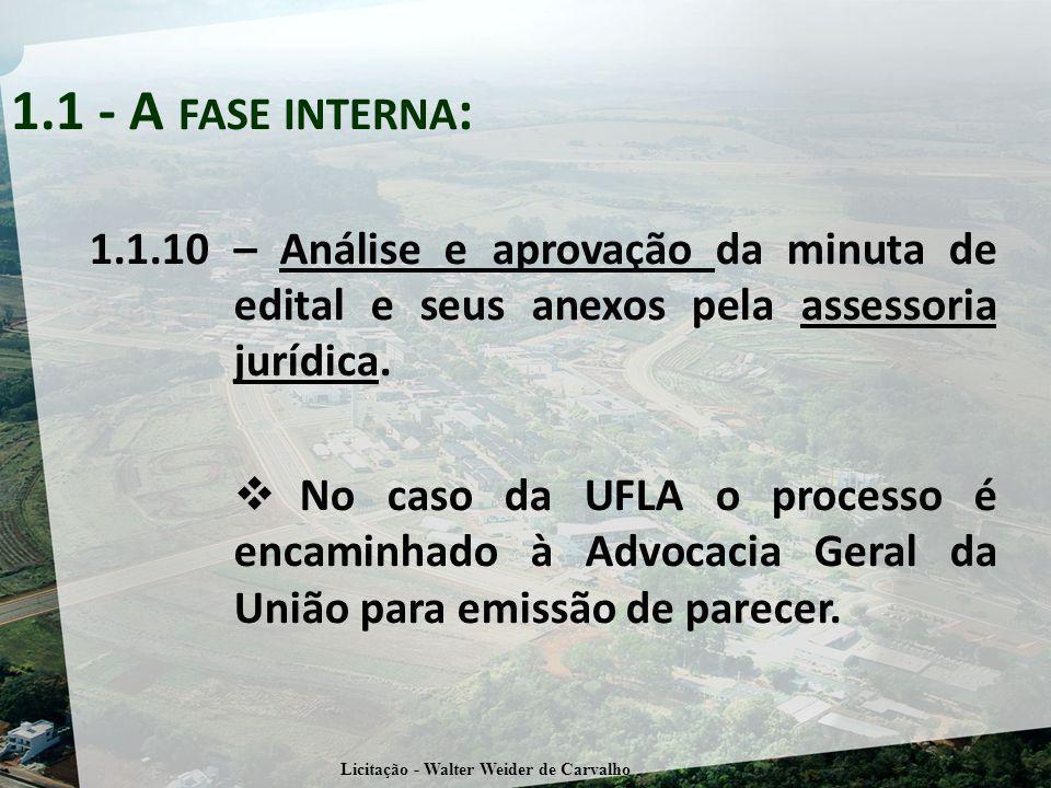 1.1.10 – Análise e aprovação da minuta de edital e seus anexos pela assessoria jurídica.