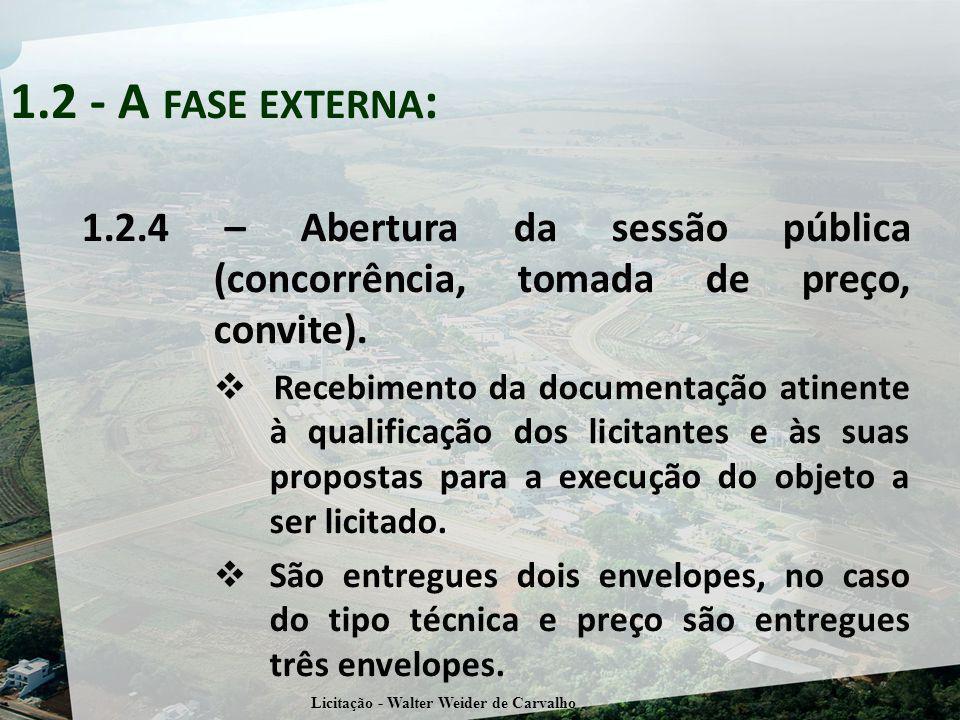 1.2.4 – Abertura da sessão pública (concorrência, tomada de preço, convite). Recebimento da documentação atinente à qualificação dos licitantes e às s