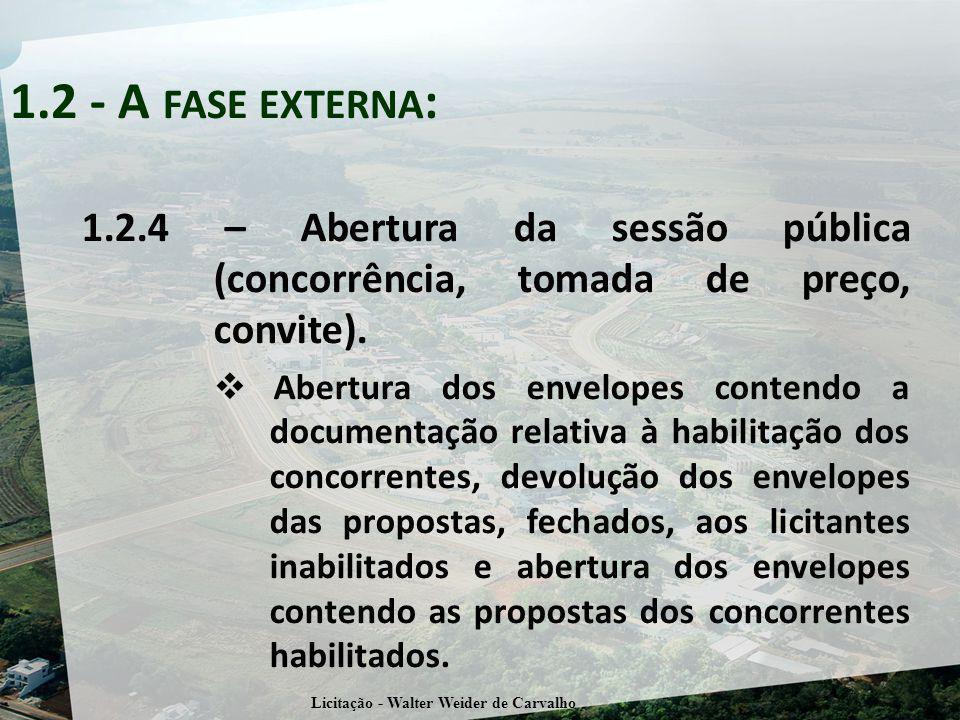 1.2.4 – Abertura da sessão pública (concorrência, tomada de preço, convite). Abertura dos envelopes contendo a documentação relativa à habilitação dos