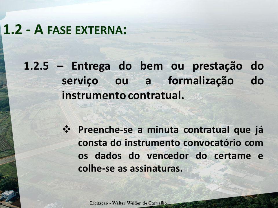 1.2 - A FASE EXTERNA : 1.2.5 – Entrega do bem ou prestação do serviço ou a formalização do instrumento contratual.