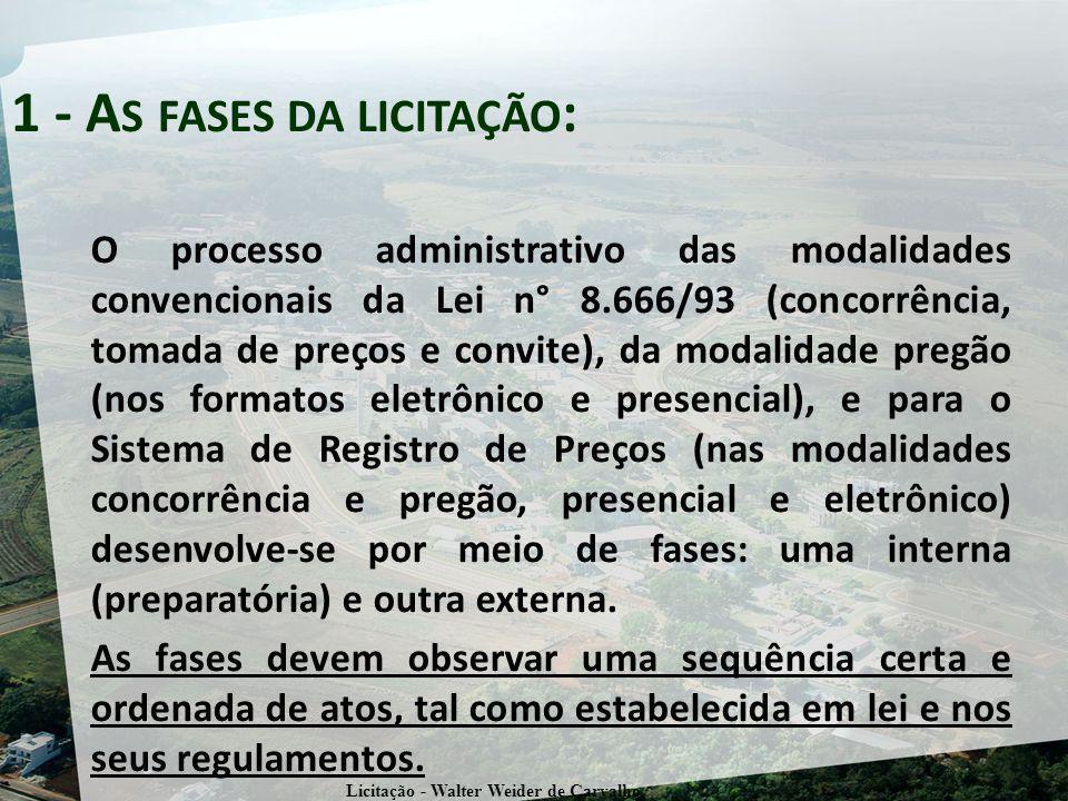O processo administrativo das modalidades convencionais da Lei n° 8.666/93 (concorrência, tomada de preços e convite), da modalidade pregão (nos forma