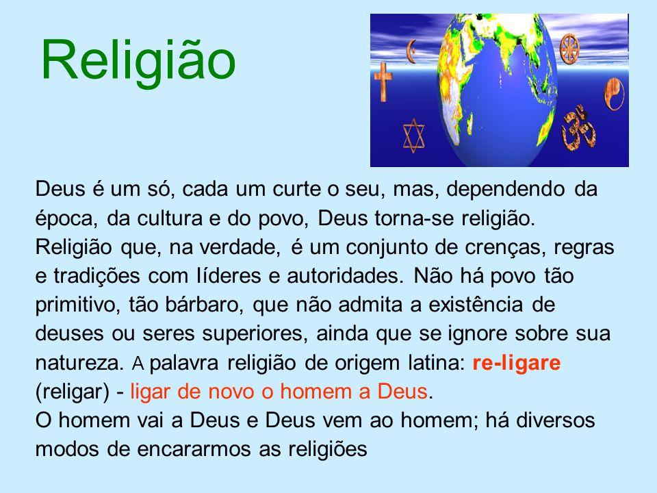 Religião Deus é um só, cada um curte o seu, mas, dependendo da época, da cultura e do povo, Deus torna-se religião. Religião que, na verdade, é um con