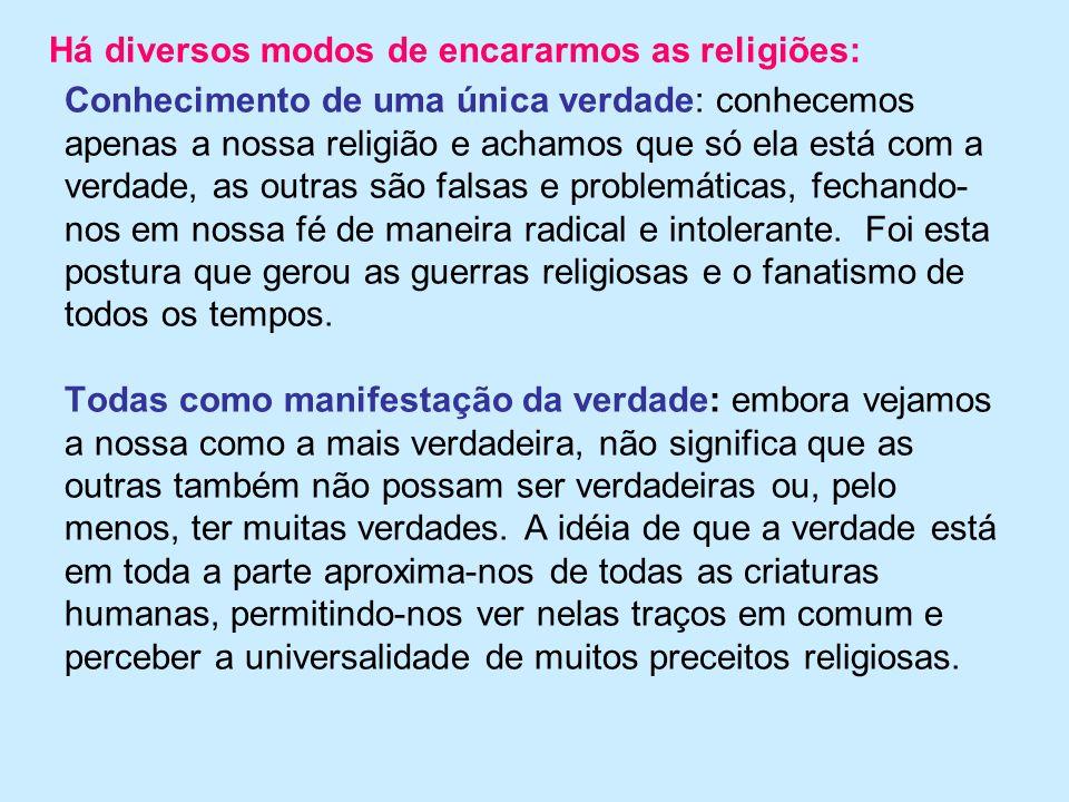 Conhecimento de uma única verdade: conhecemos apenas a nossa religião e achamos que só ela está com a verdade, as outras são falsas e problemáticas, f