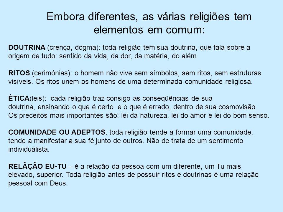 Embora diferentes, as várias religiões tem elementos em comum: DOUTRINA (crença, dogma): toda religião tem sua doutrina, que fala sobre a origem de tu