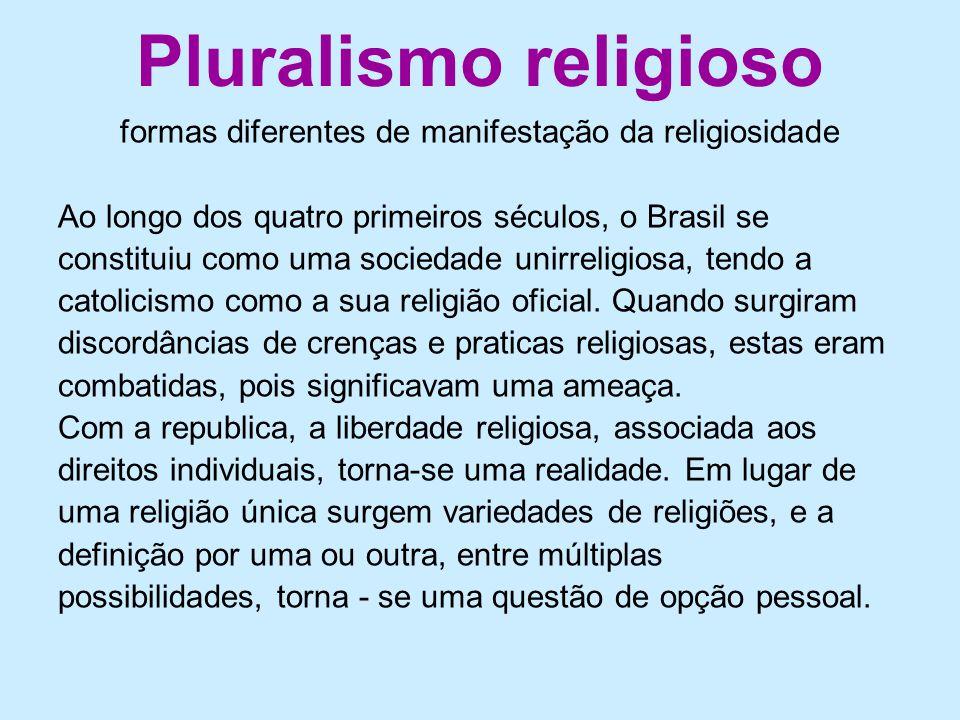 Pluralismo religioso formas diferentes de manifestação da religiosidade Ao longo dos quatro primeiros séculos, o Brasil se constituiu como uma socieda