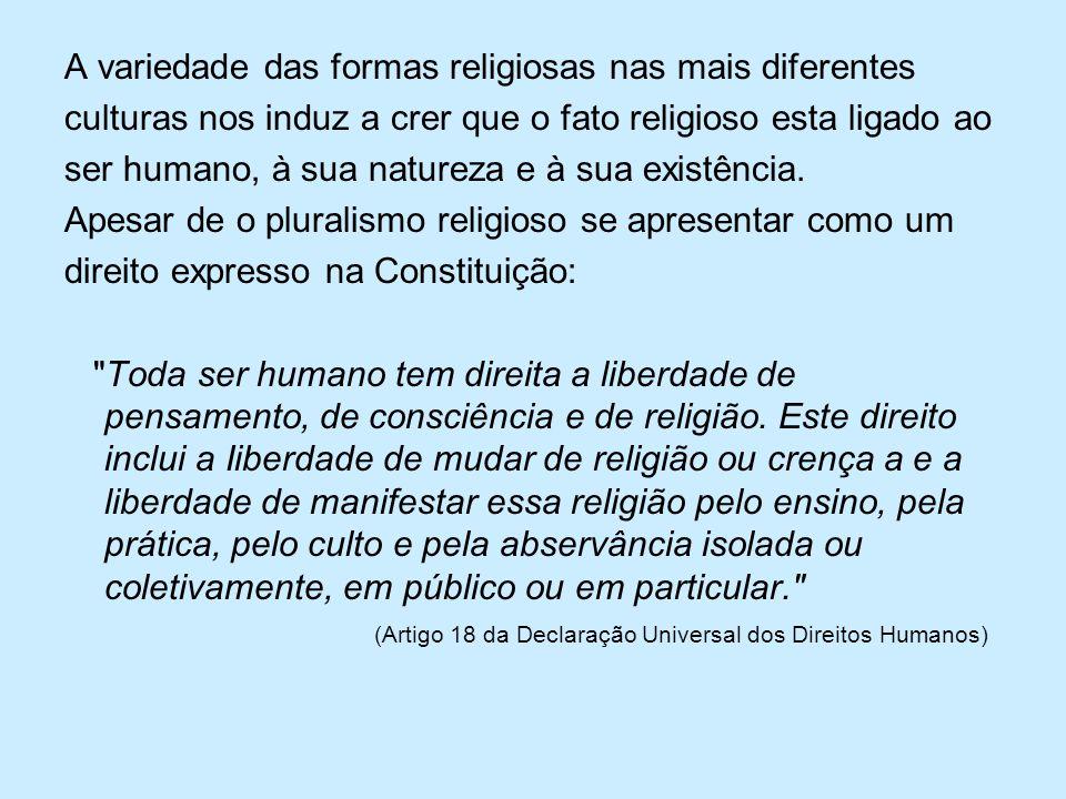 A variedade das formas religiosas nas mais diferentes culturas nos induz a crer que o fato religioso esta ligado ao ser humano, à sua natureza e à sua