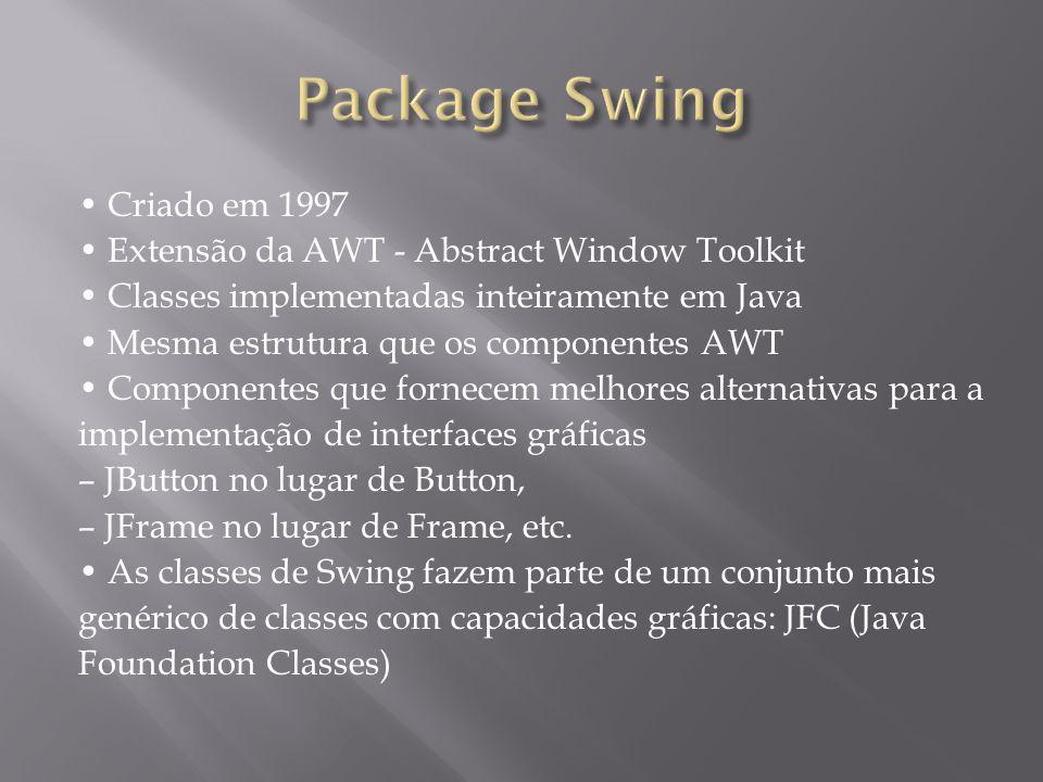 Criado em 1997 Extensão da AWT - Abstract Window Toolkit Classes implementadas inteiramente em Java Mesma estrutura que os componentes AWT Componentes