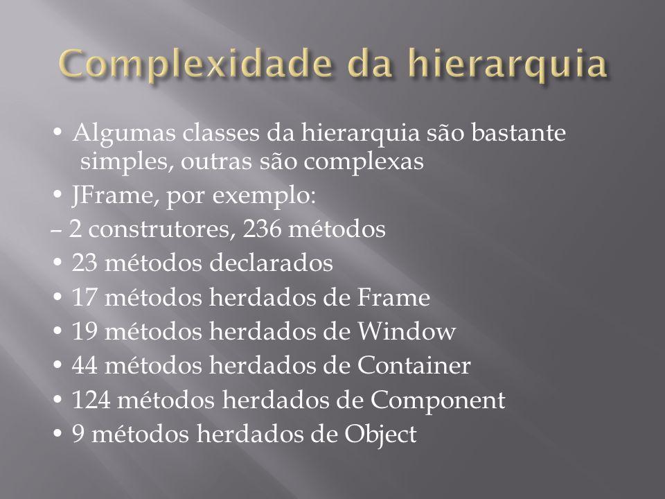 Algumas classes da hierarquia são bastante simples, outras são complexas JFrame, por exemplo: – 2 construtores, 236 métodos 23 métodos declarados 17 m