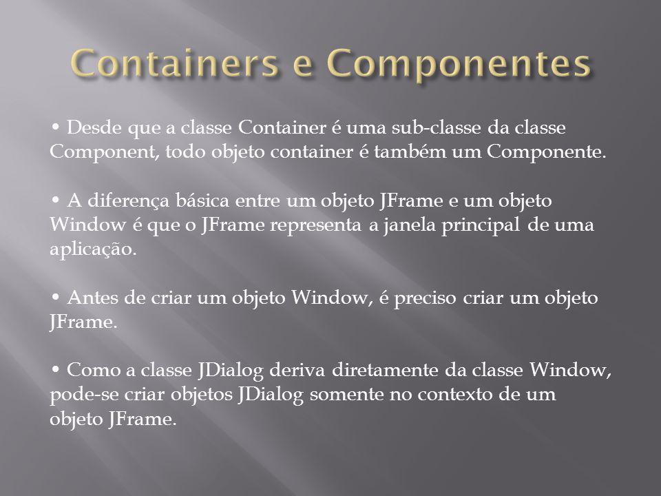 JFrame: Um objeto desta classe possui uma barra de título e características para receber menus e outros componentes.